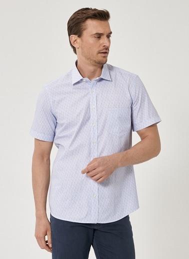 Beymen Business Slim Fit Baskılı Gömlek 4B2019200083 Mavi